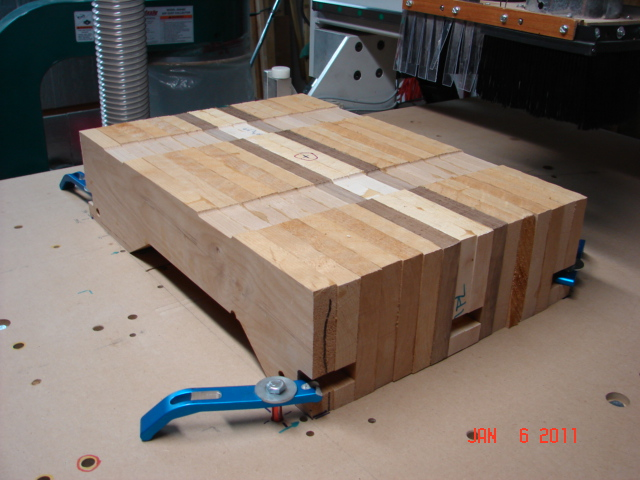 Laminated block on router table